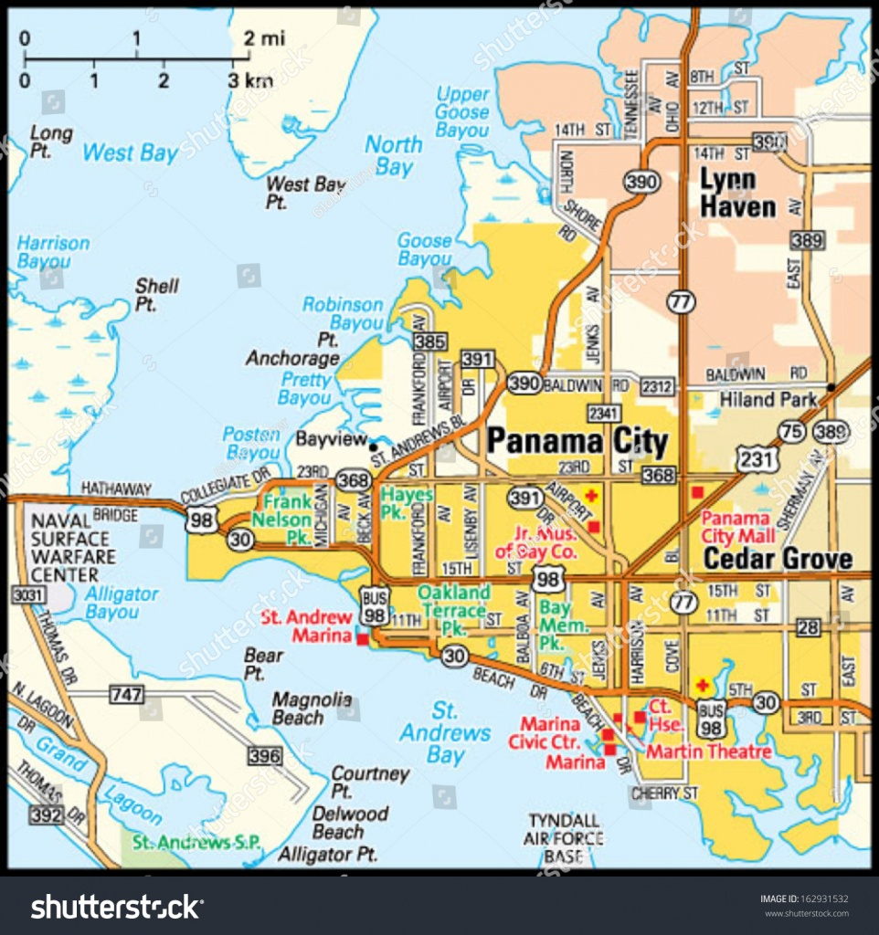 Panama City Florida Area Map Stock Vector (Royalty Free) 162931532 - Where Is Panama City Florida On The Map