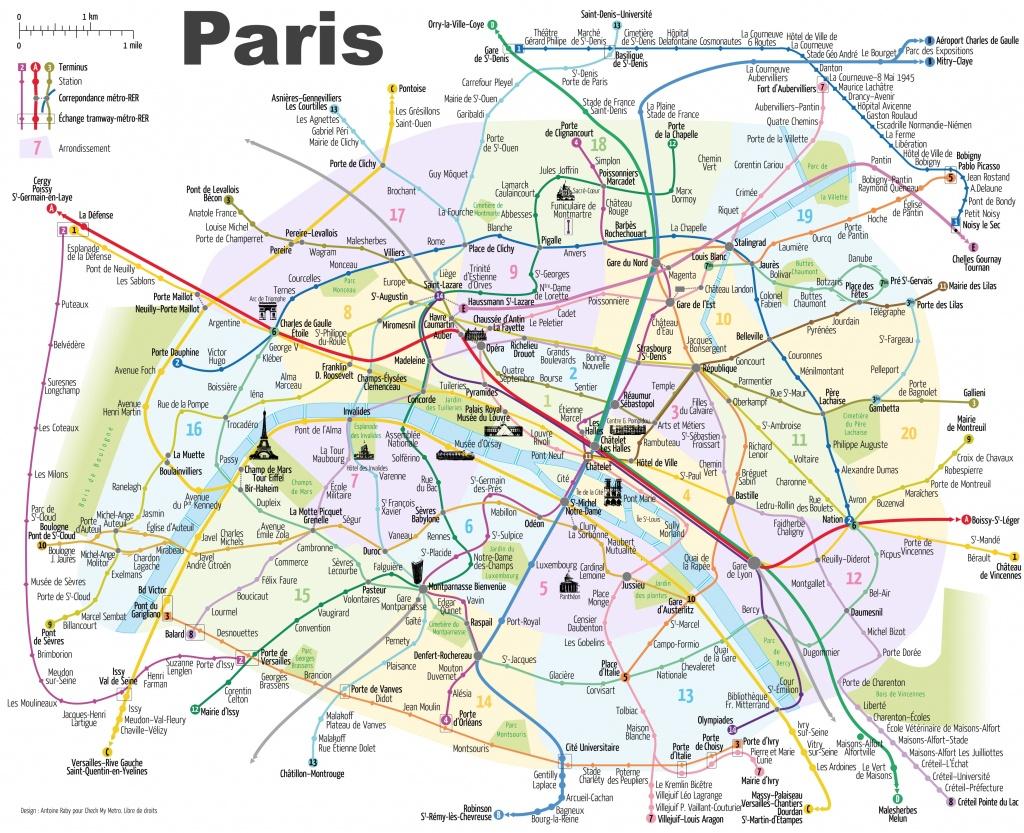 Paris Attractions Map Pdf - Free Printable Tourist Map Paris, Waking - Free Printable Map Of Paris