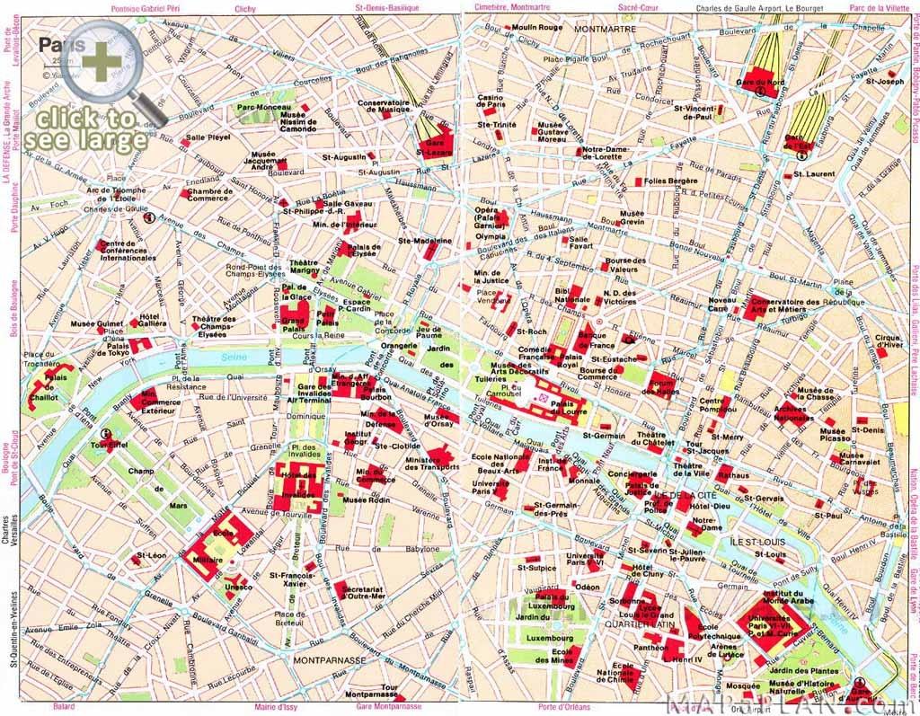 Paris Maps - Top Tourist Attractions - Free, Printable - Mapaplan - Paris Printable Maps For Tourists