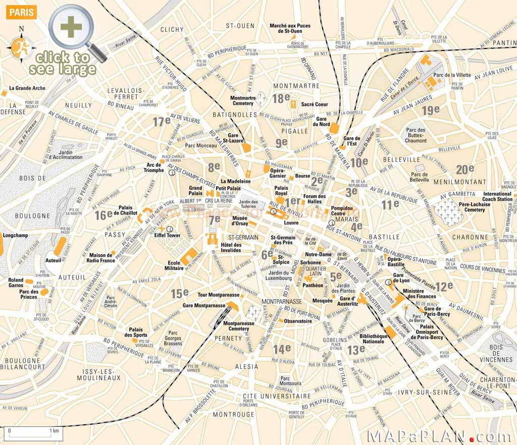 Paris Maps - Top Tourist Attractions - Free, Printable - Mapaplan - Printable Map Of Paris City Centre