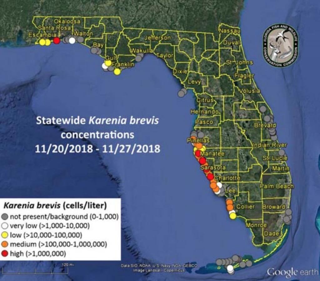 Parts Of Southwest Florida Seeing More Red Tide Blooms - Vanderbilt Beach Florida Map