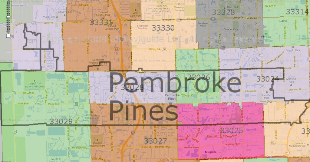 Pembroke Pines Zip Code Map   Woestenhoeve - Pembroke Pines Florida Map