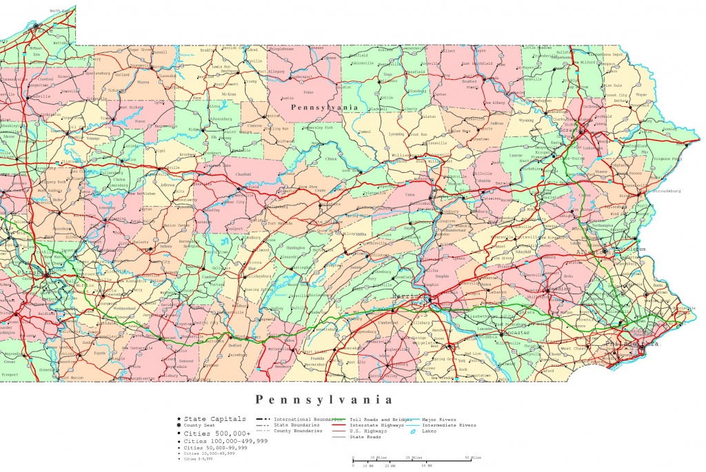 Pennsylvania Printable Map - Printable Road Map Of Pennsylvania