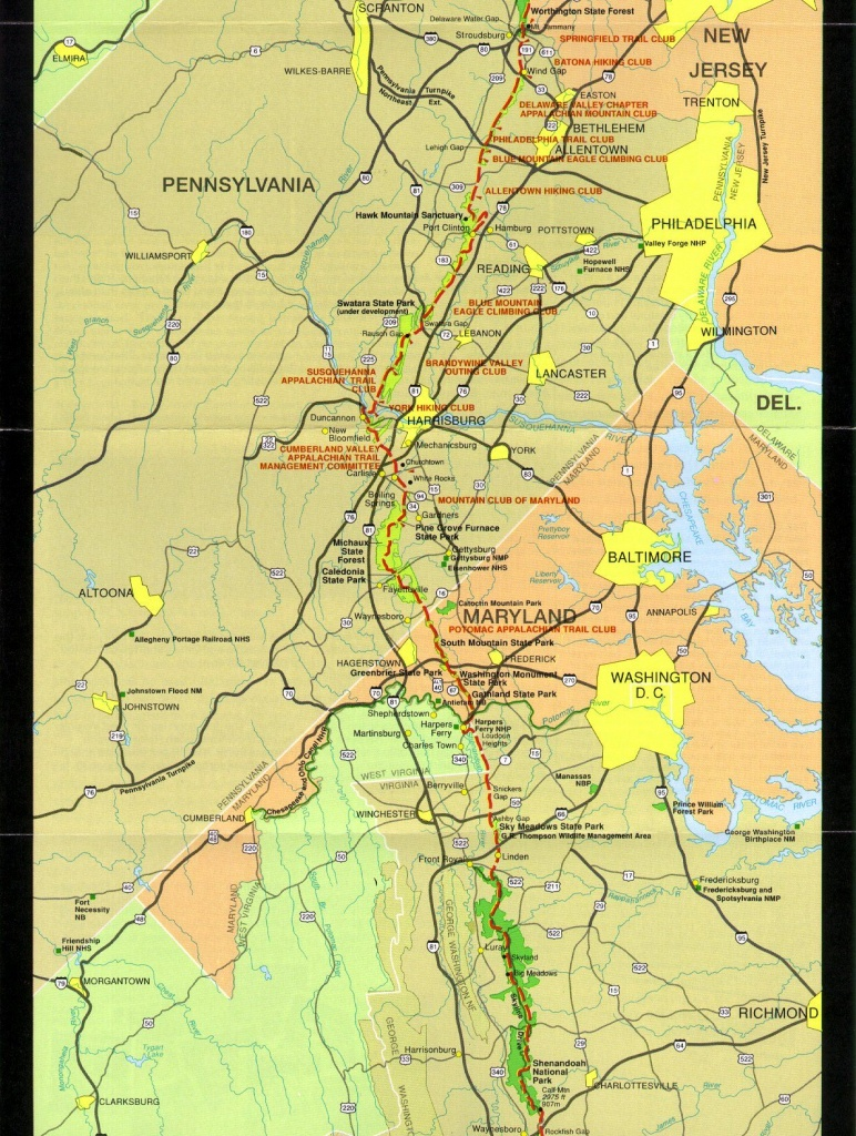 Pennsylvania To Shenandoah   Maps   Appalachian Trail, Appalachian - Printable Appalachian Trail Map