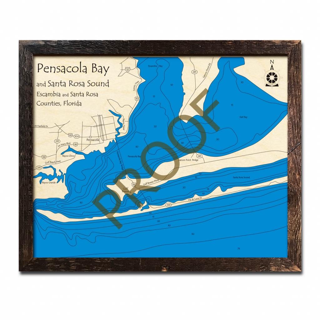 Pensacola Bay And Santa Rosa Sound, Fl Nautical Wood Maps - Santa Rosa Sound Florida Map