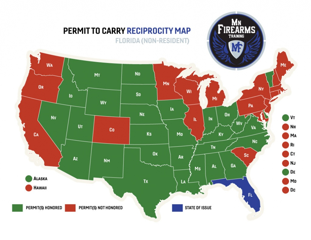 Permit To Carry Maps | Mn Firearms Training - Florida Carry Permit Reciprocity Map