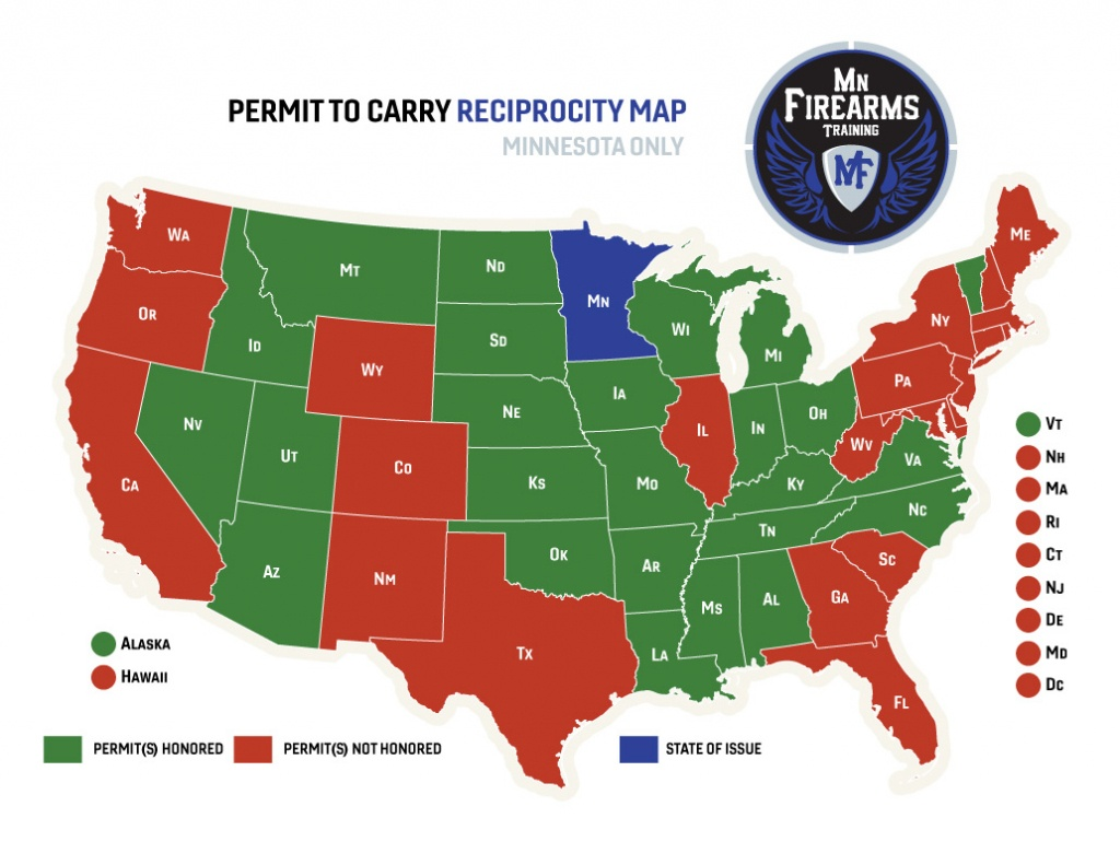 Permit To Carry Maps   Mn Firearms Training - Florida Ccw Reciprocity Map 2018
