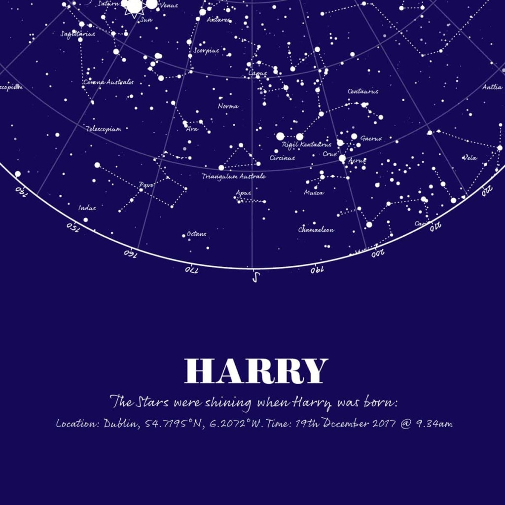 Personalised Map Of The Stars Print - Large - Make It With Words - Printable Star Map