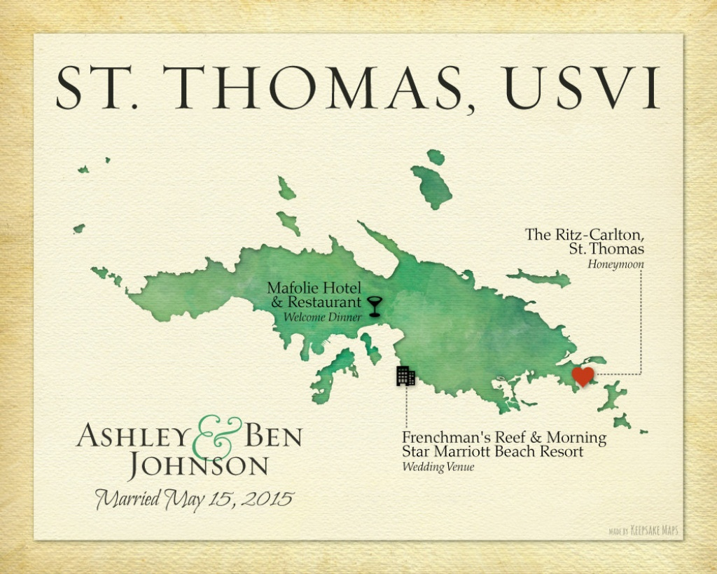 Personalized St. Thomas Usvi Wedding Map Print Map Art Of St.   Etsy - Printable Map Of St John Usvi