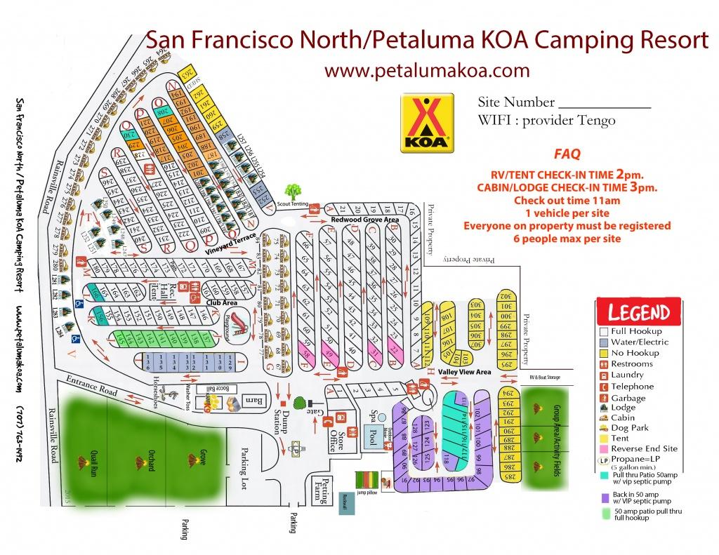 Petaluma, California Campground   San Francisco North / Petaluma Koa - California Rv Camping Map