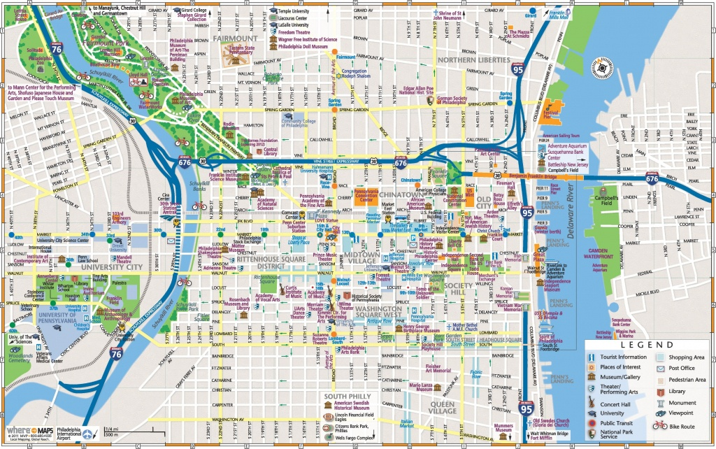 Philadelphia Downtown Map - Printable Map Of Downtown Chicago Attractions