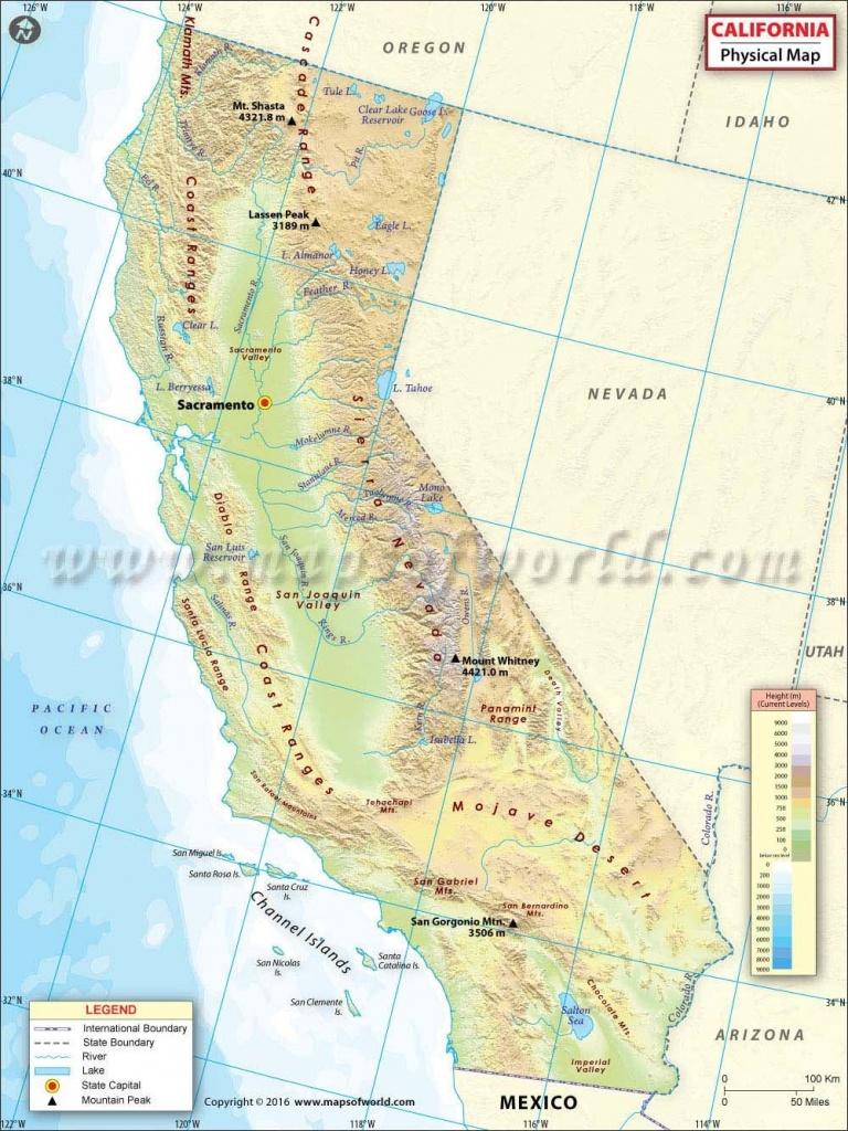 Physical Map Of California | Usa Maps | California Map, Map - Show Map Of California
