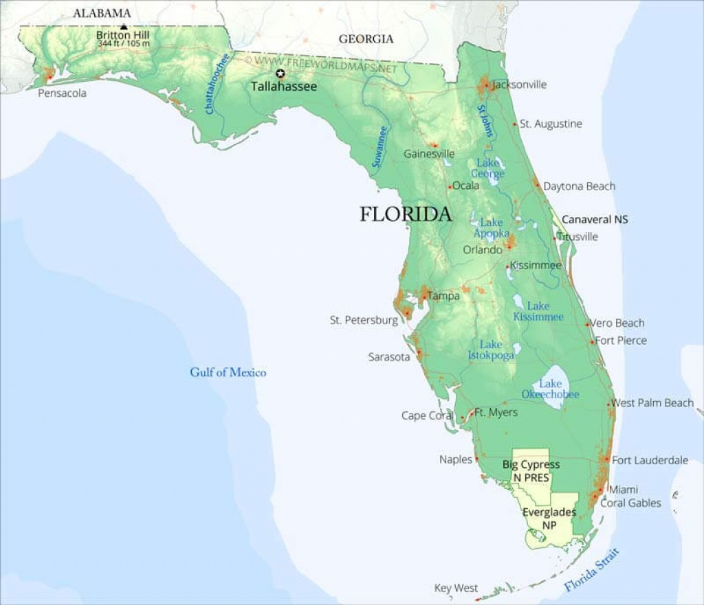 Physical Map Of Florida - Florida Gulf Map