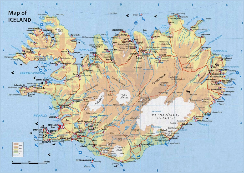 Physical Map Of Iceland. Iceand Physical Map | Vidiani | Maps Of - Maps Of Iceland Printable Maps