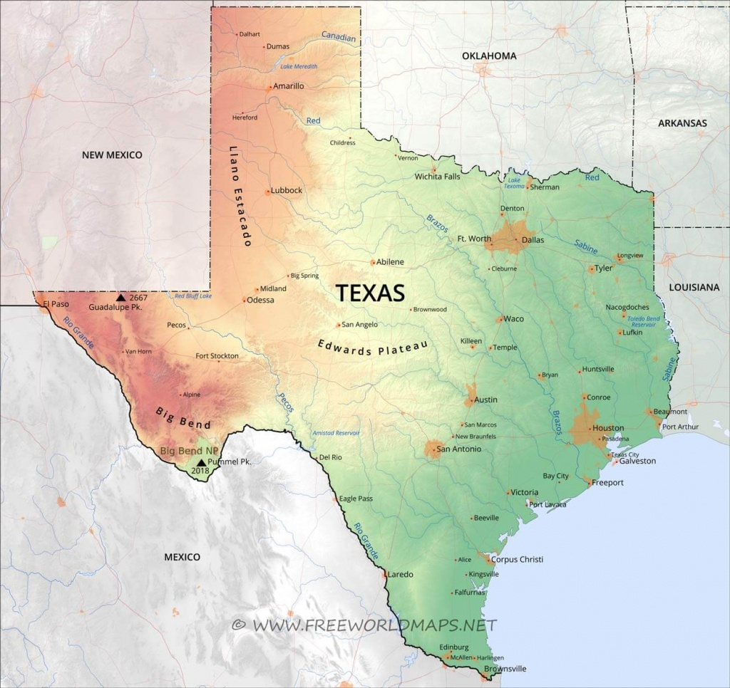 Physical Map Of Texas - Alice Texas Map