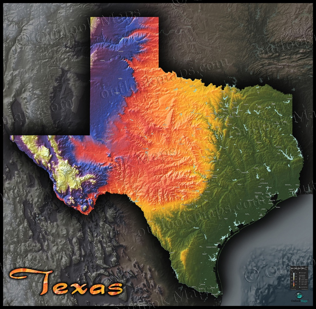 Physical Texas Map | State Topography In Colorful 3D Style - Texas Topo Map