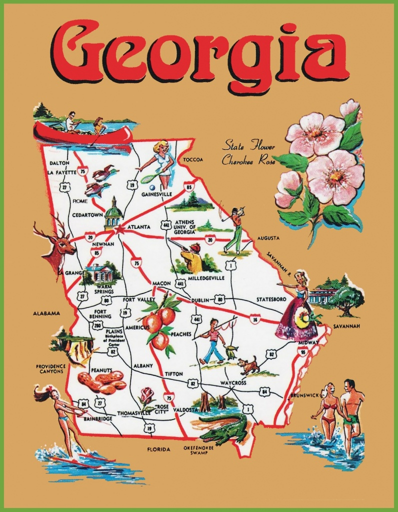 Pictorial Travel Map Of Georgia - Printable Map Of Georgia