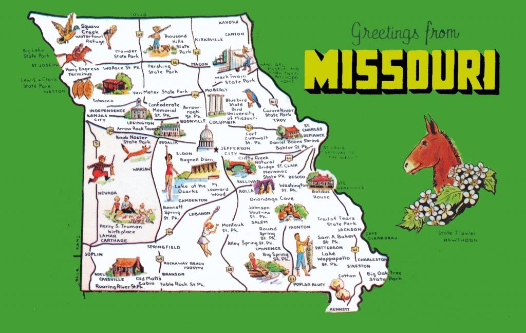Pictorial Travel Map Of Missouri - Printable Map Of Missouri