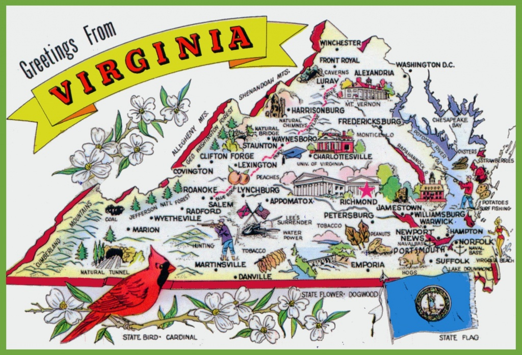 Pictorial Travel Map Of Virginia - Printable Map Of Virginia