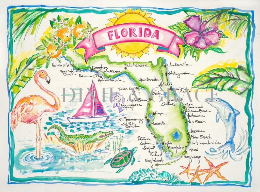Pinann Bazzell On Florida Sunshine   Watercolor Map, Watercolor - Watercolor Florida Map