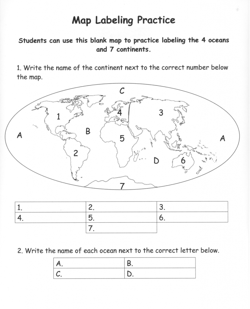 Pinecko Ellen Stein On Learning Goodies | Continents, Oceans - Blank Map Of The Continents And Oceans Printable