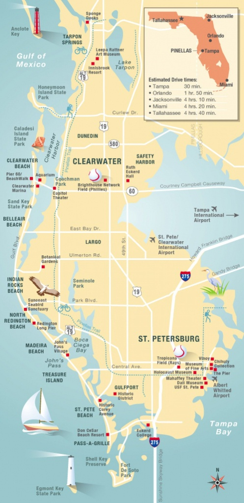 Pinellas County Map Clearwater, St Petersburg, Fl   Florida - Map Of Florida Showing Tampa And Clearwater