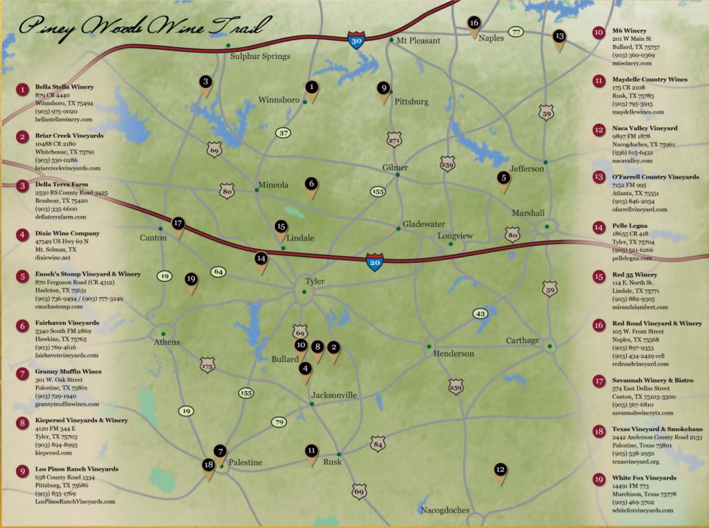 Piney Woods Wine Trail | Texas Uncorked - Fredericksburg Texas Winery Map