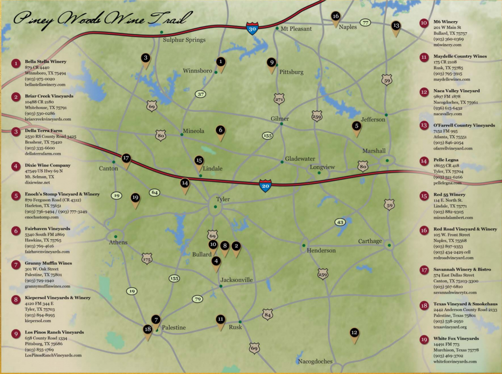 Piney Woods Wine Trail | Texas Uncorked - Texas Hill Country Wine Trail Map