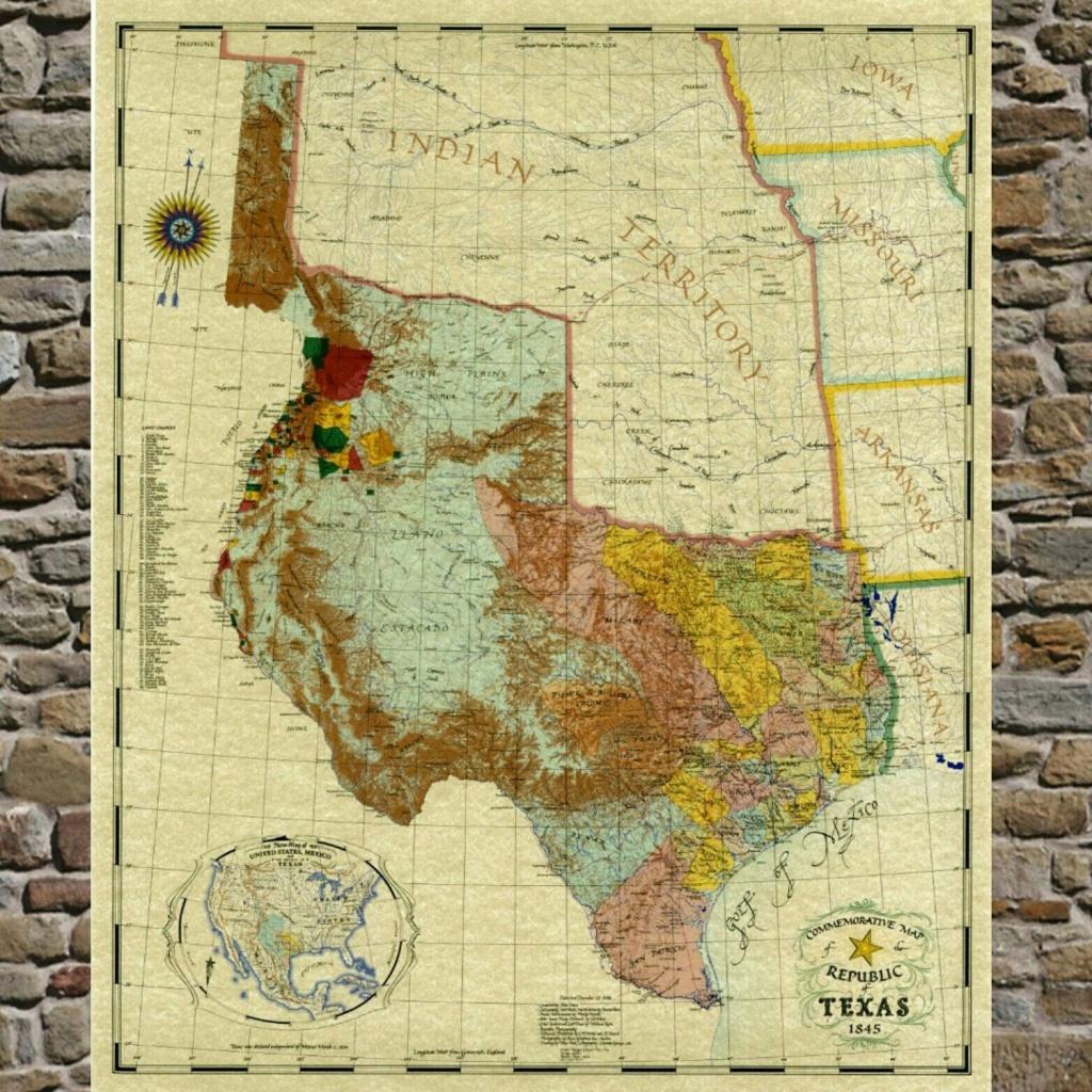 Pinjennifer Burger On Stairway Wall | Framed Maps, Republic Of - Republic Of Texas Map Framed