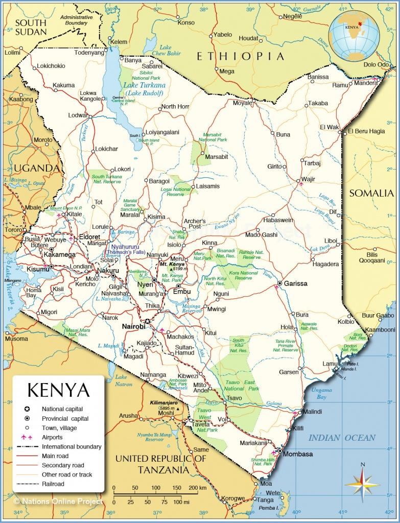 Political Map Of Kenya - Nations Online Project - Printable Map Of Kenya