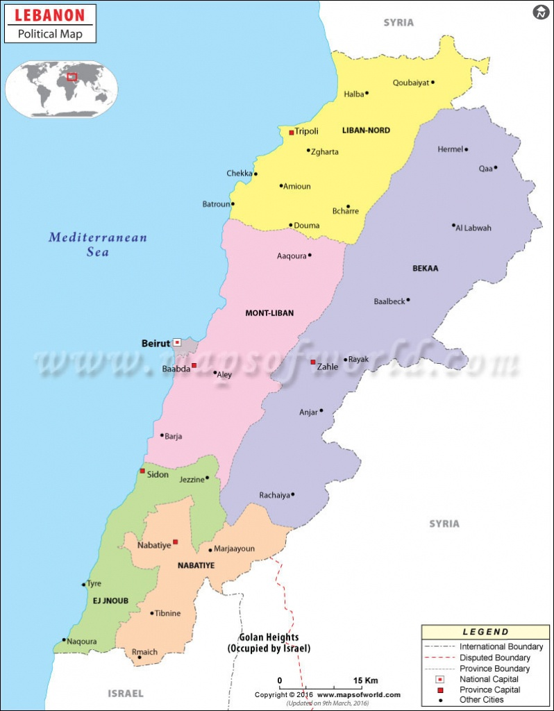 Political Map Of Lebanon | Lebanon Governorates Map - Printable Map Of Lebanon