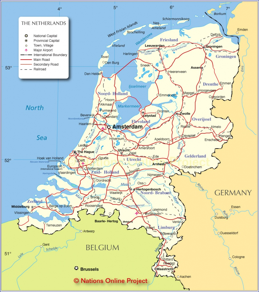 Political Map Of Netherlands - Nations Online Project - Printable Map Of The Netherlands
