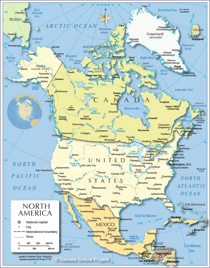 Political Map Of North America - Nations Online Project - Printable Map Of North America With Labels