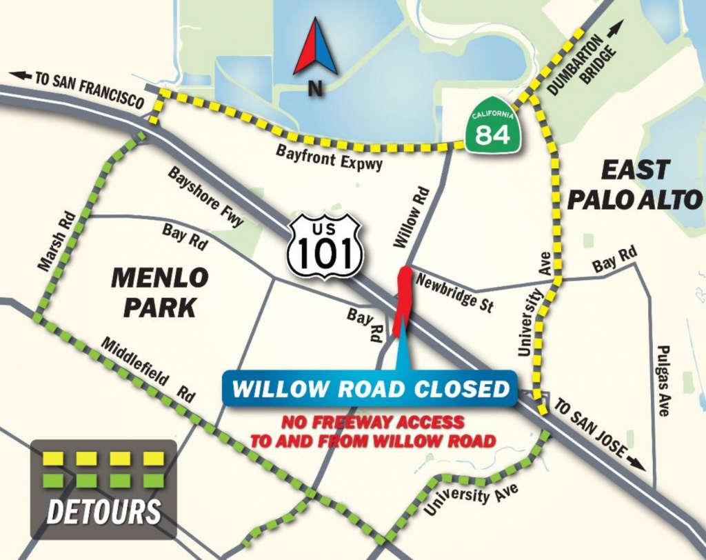 Portion Of Willow Road In Menlo Park To Close So Workers Can Install - Menlo Park California Map