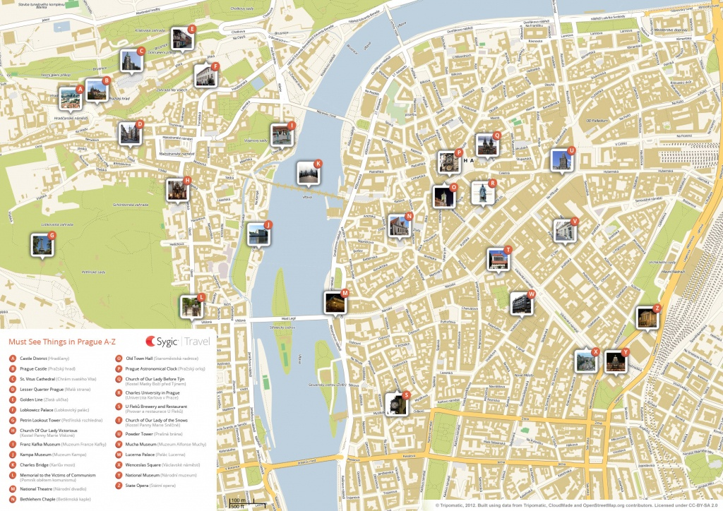 Prague Printable Tourist Map | Sygic Travel - Printable Map Of Prague City Centre