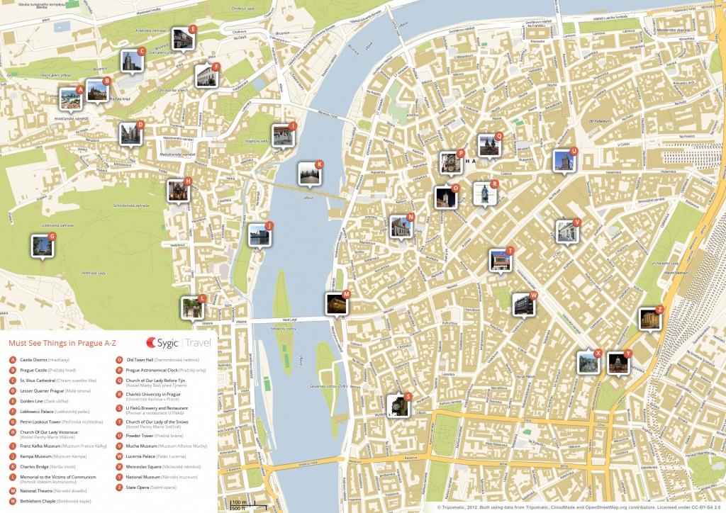 Prague Printable Tourist Map   Sygic Travel - Printable Map Of Prague