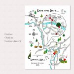 Print Your Own Colour Wedding Or Party Illustrated Mapcute Maps - How To Create A Printable Map For A Wedding Invitation