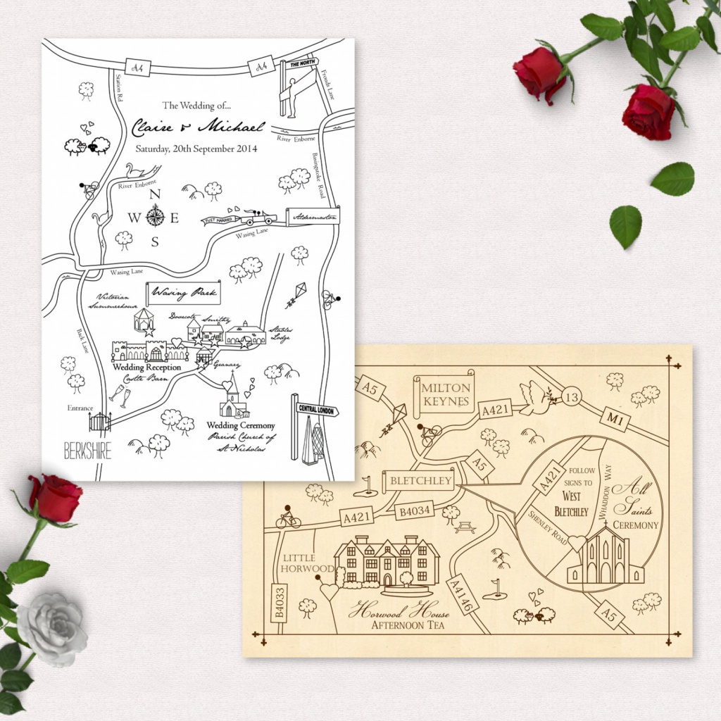 Printable Custom Map Wedding Invitation Save The Date Or Info | Etsy - Printable Map Directions For Invitations