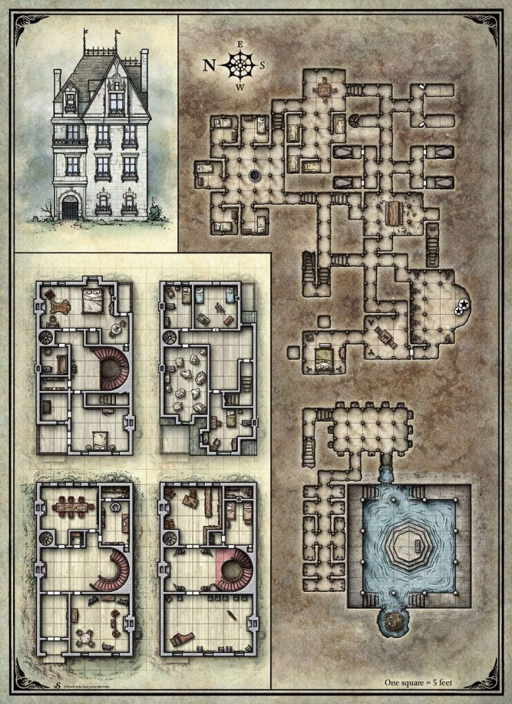 Printable Death House Maps - Dungeon Masters Guild | Dungeon Masters - D&d Printable Maps