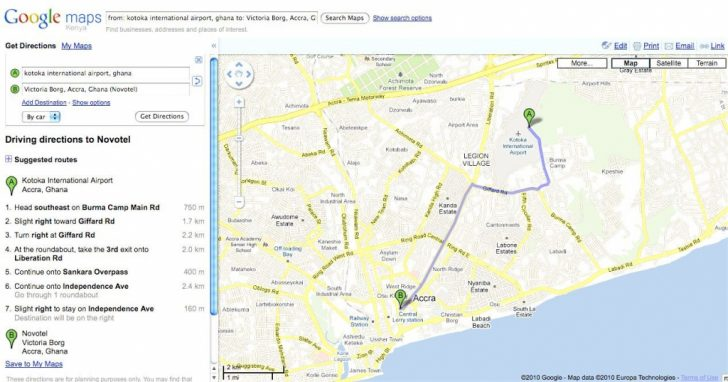 Printable Driving Directions Google Maps