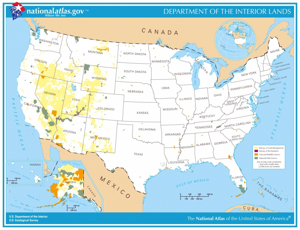 Printable Map - Department Of The Interior Lands - National Atlas Printable Maps