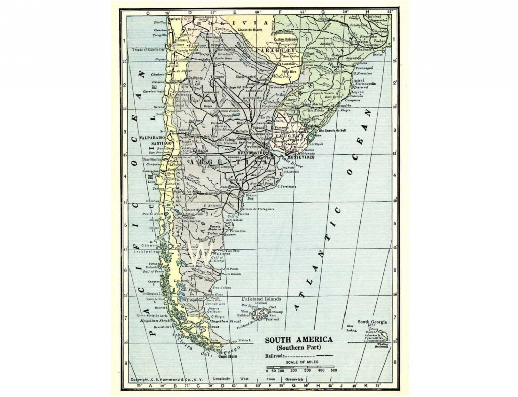 Printable Map Of Argentina, Chile And The Southern Part Of South - Printable Map Of Argentina