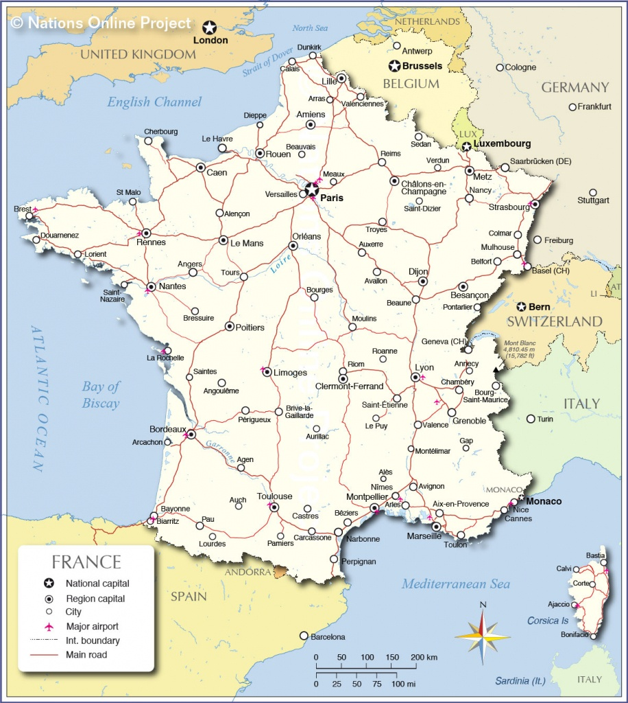 Printable Map Of France With Cities And Travel Information - Printable Map Of France With Cities And Towns