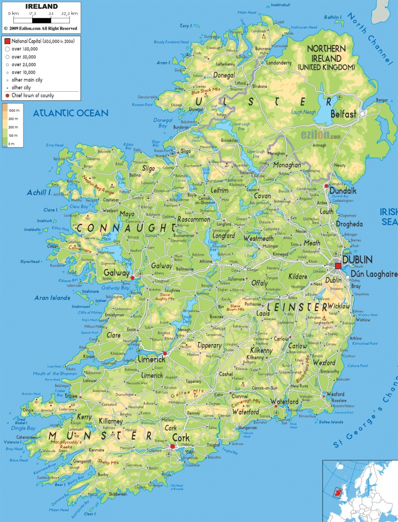 Printable Map Of Ireland With Cities And Travel Information - Large Printable Map Of Ireland