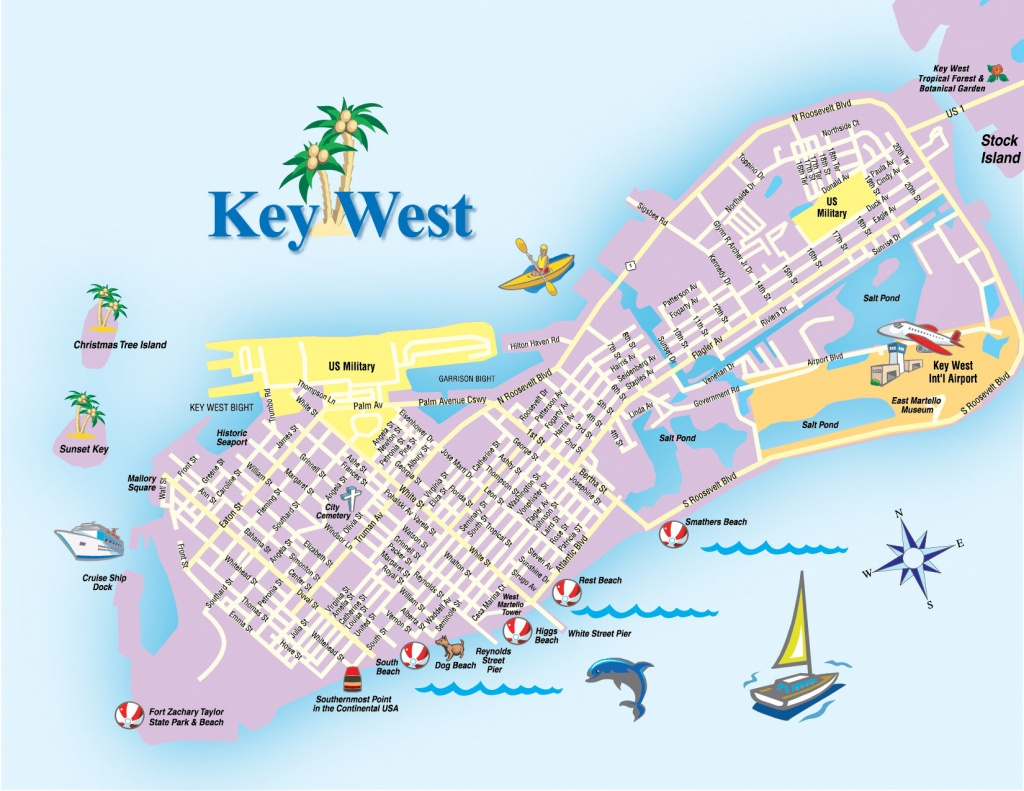 Printable Map Of Key West Florida Streets Hotels Area Attractions Pdf - Printable Map Of Key West