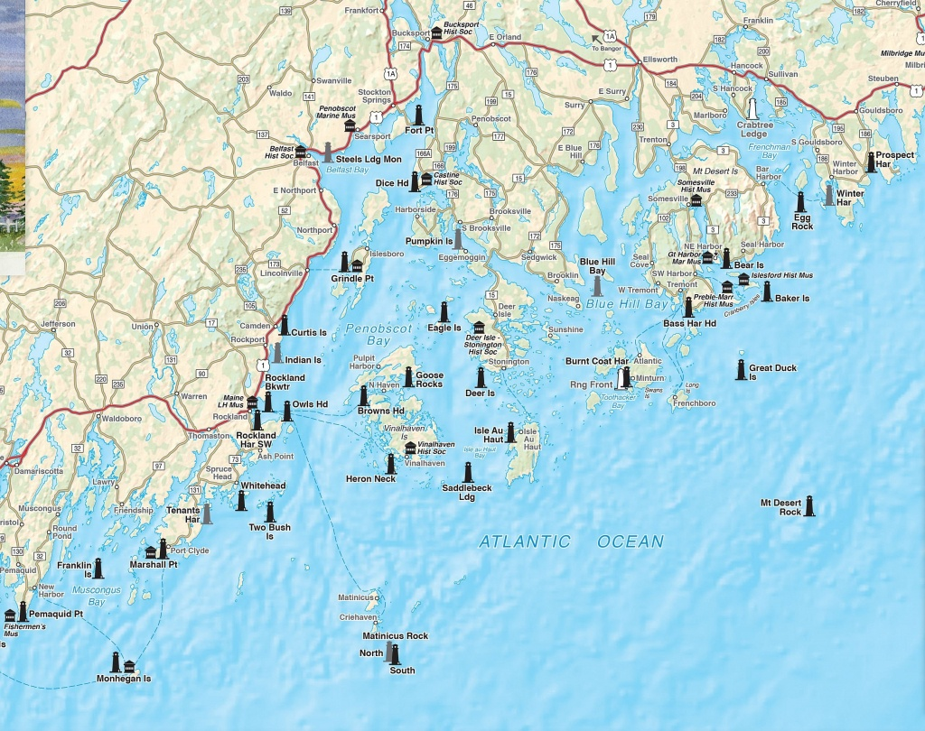 Printable Map Of Maine Lighthouses | Time Zones Map - Printable Map Of Maine Coast