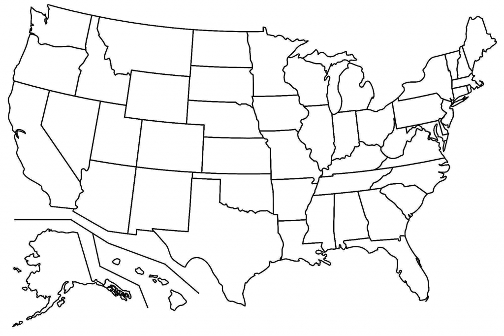Printable Map Us State Borders Within United States Blank - Map Of United States Outline Printable