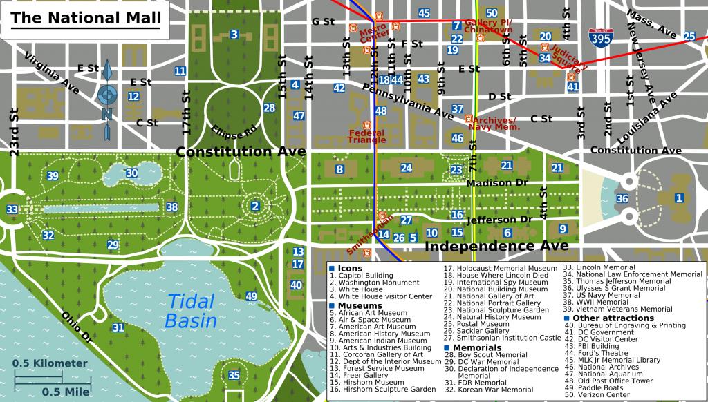 Printable Map Washington Dc   National Mall Map - Washington Dc - Printable Map Of Dc