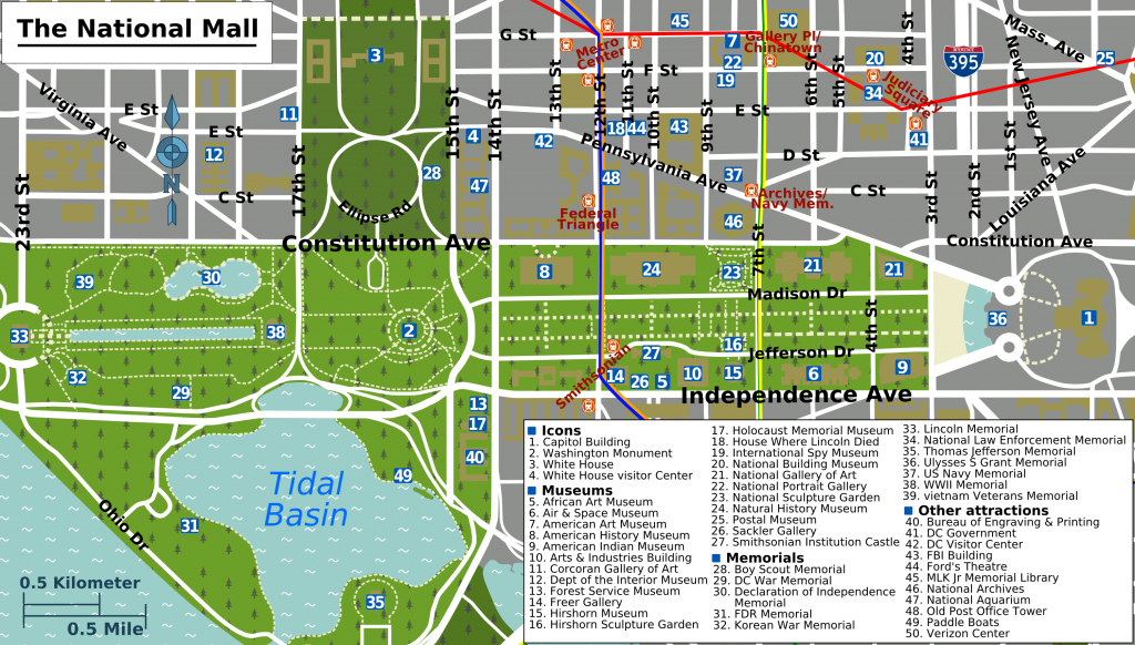 Printable Map Washington Dc | National Mall Map - Washington Dc - Tourist Map Of Dc Printable