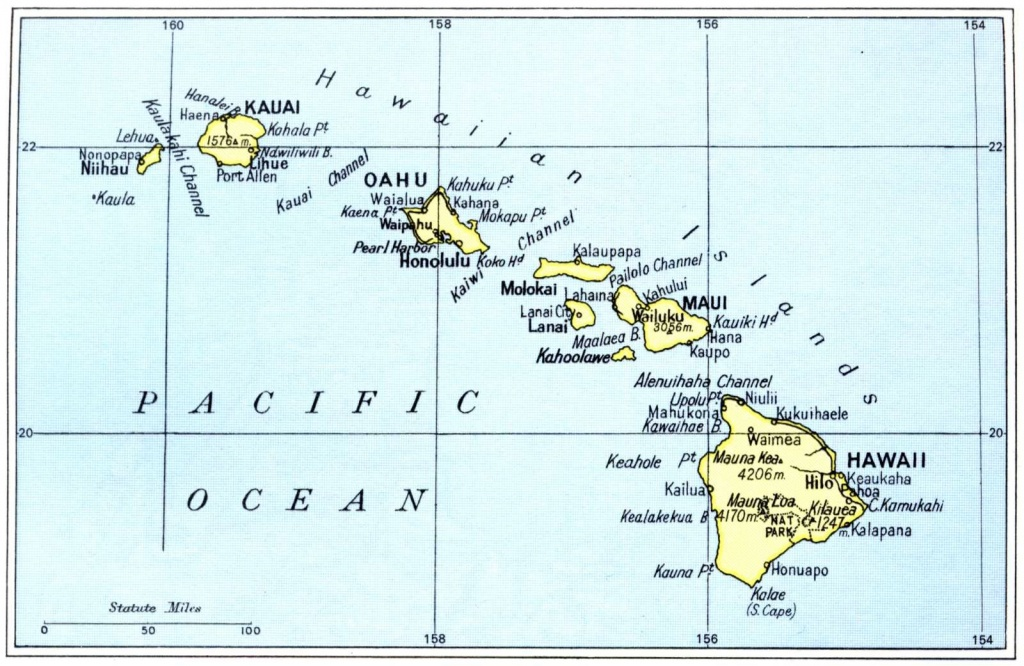Printable Maps Of Hawaii Islands | Free Map Of Hawaiian Islands 1972 - Printable Map Of Hawaiian Islands
